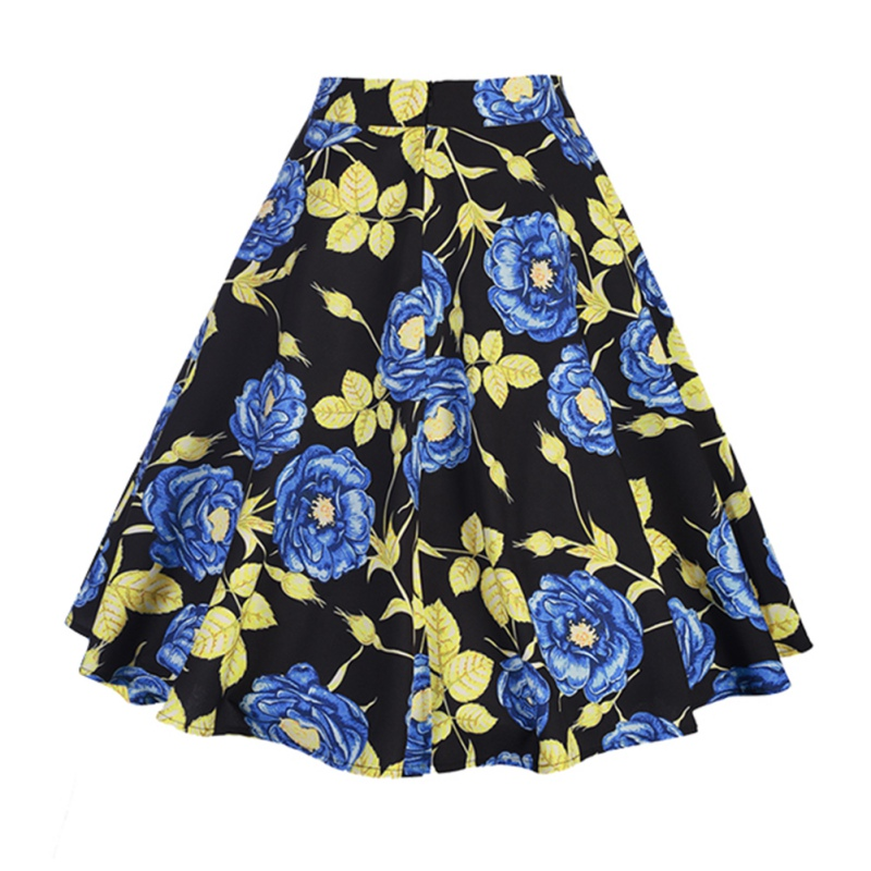 Women-039-s-Retro-Floral-Printed-High-Waist-Pleated-Party-A-Line-Midi-Skater-Skirts
