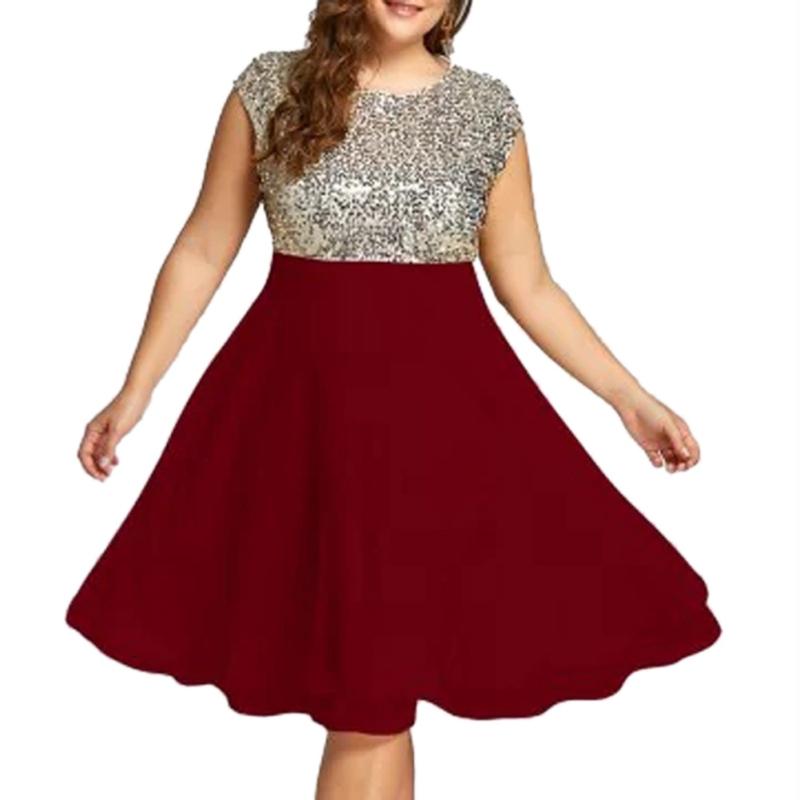 Plus Size Women Sequined Sleeveless Dress Elegant Cocktail ... - photo #37