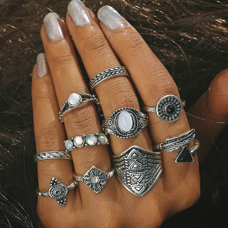 12PCS-Boho-Silver-Gold-Stack-Plain-Above-Knuckle-Ring-Midi-Finger-Rings-Set-Gift thumbnail 17