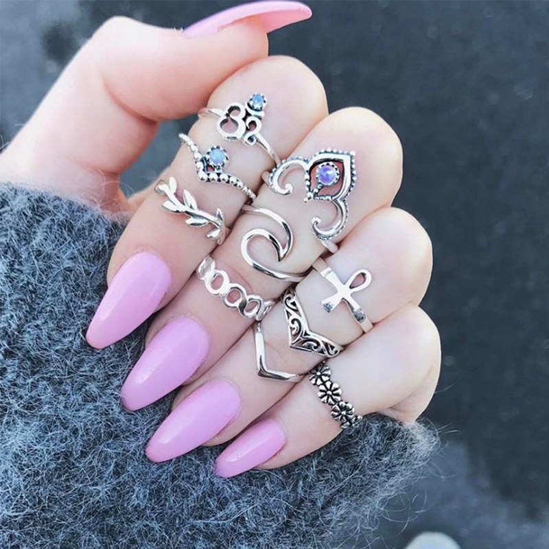 12PCS-Boho-Silver-Gold-Stack-Plain-Above-Knuckle-Ring-Midi-Finger-Rings-Set-Gift thumbnail 25