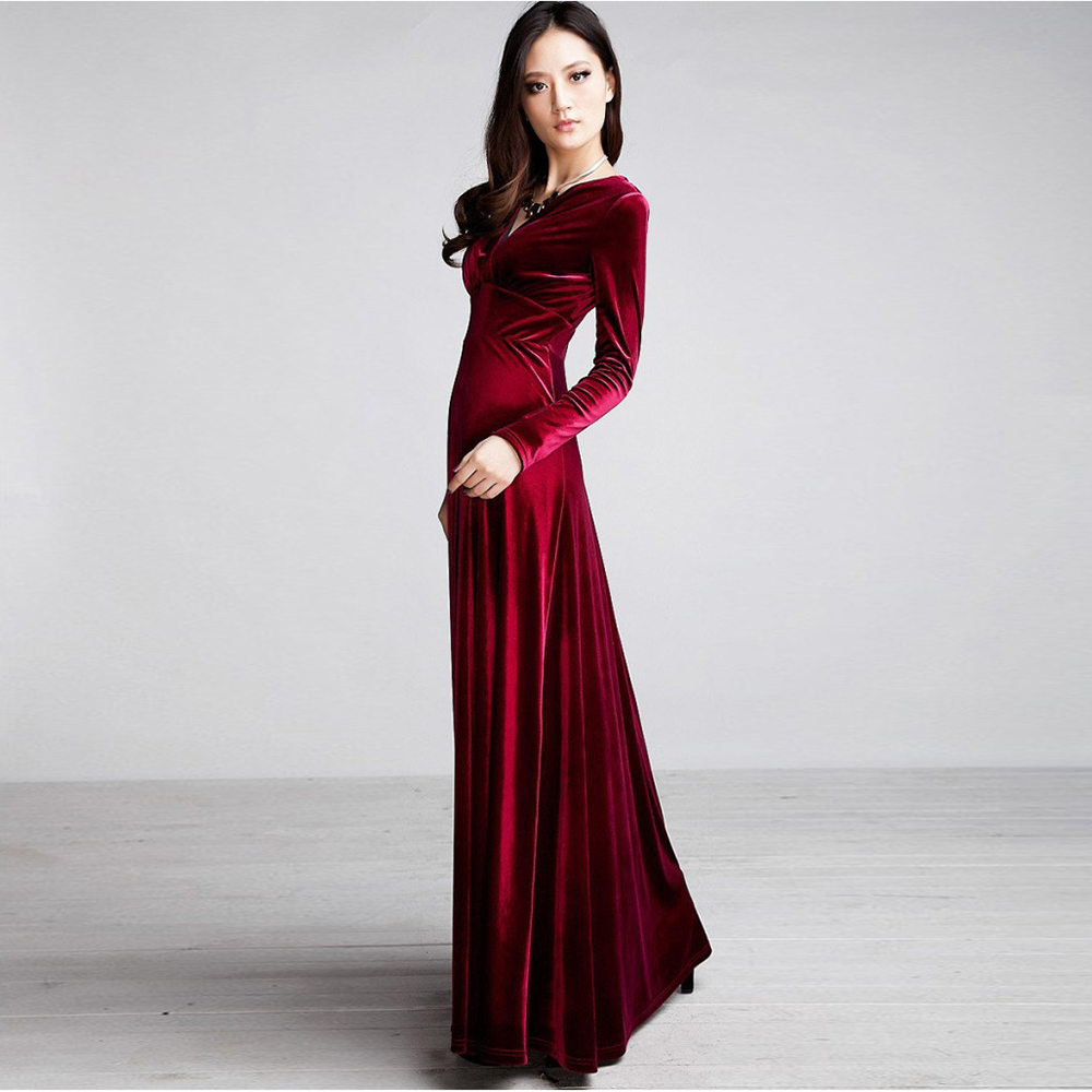 Women Vintage Long Sleeve Maxi Velvet Bridesmaid Evening Cocktail ...