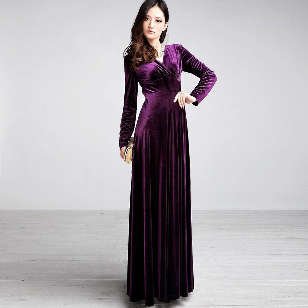 superb long velvet dress outfit 8