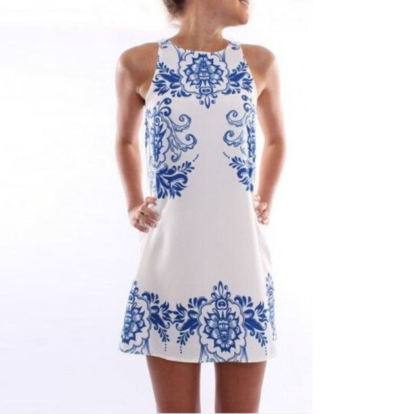 Women's Summer Short Sleeve Chiffon Cocktail Dress Evening Party Mini Dress