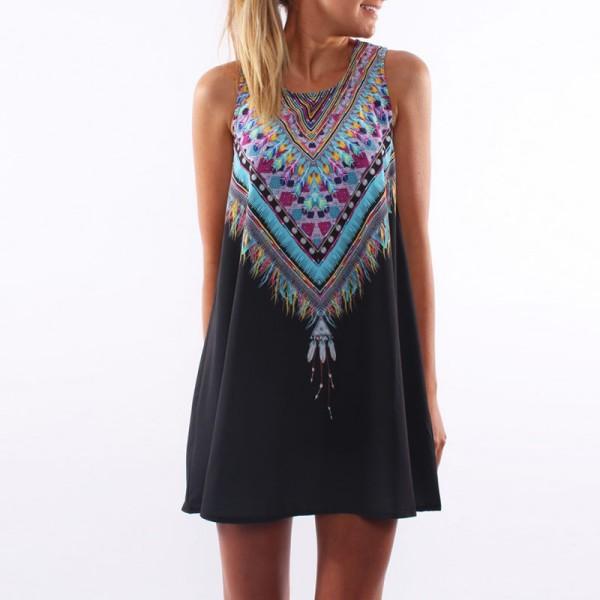 BOHO-Women-039-s-Chiffon-Sleeveless-Baggy-Mini-Dress-Summer-Beach-Party-Short-Dress