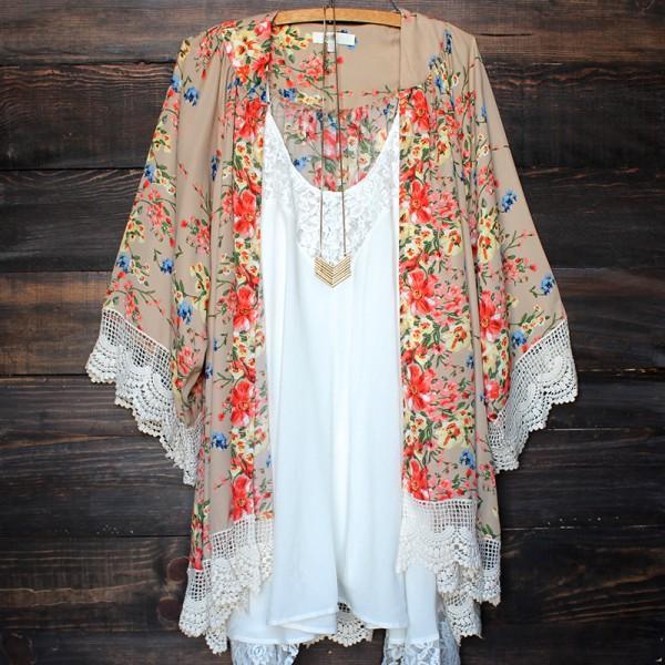 AU Women Lady Lace Chiffon Floral Kimono Jacket Coat Cardigan ...