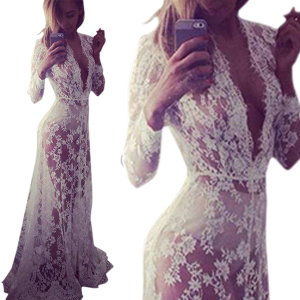 Plus Size S-XXL Women's Lace Floral Boho Long Maxi Dress Party Wedding Ball Gown