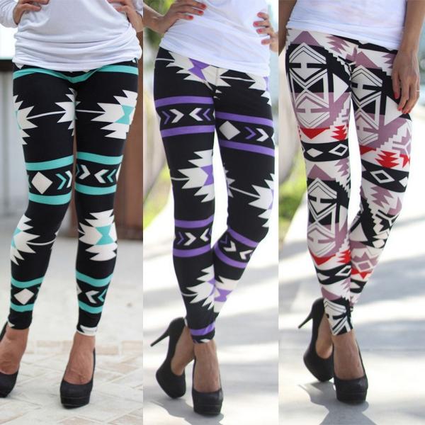 Plus Size Womens Tribal Aztec Print Cotton Leggings Multi Color Long Pants S XL