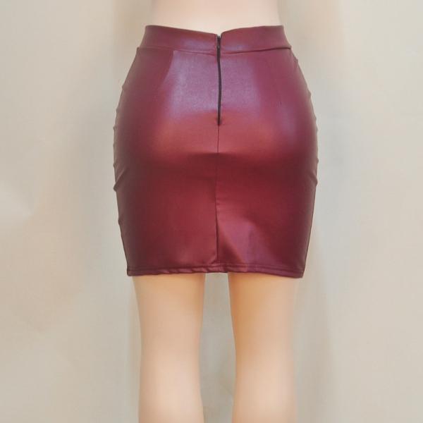 fashion pu leather bodyocn mini skirt zipper