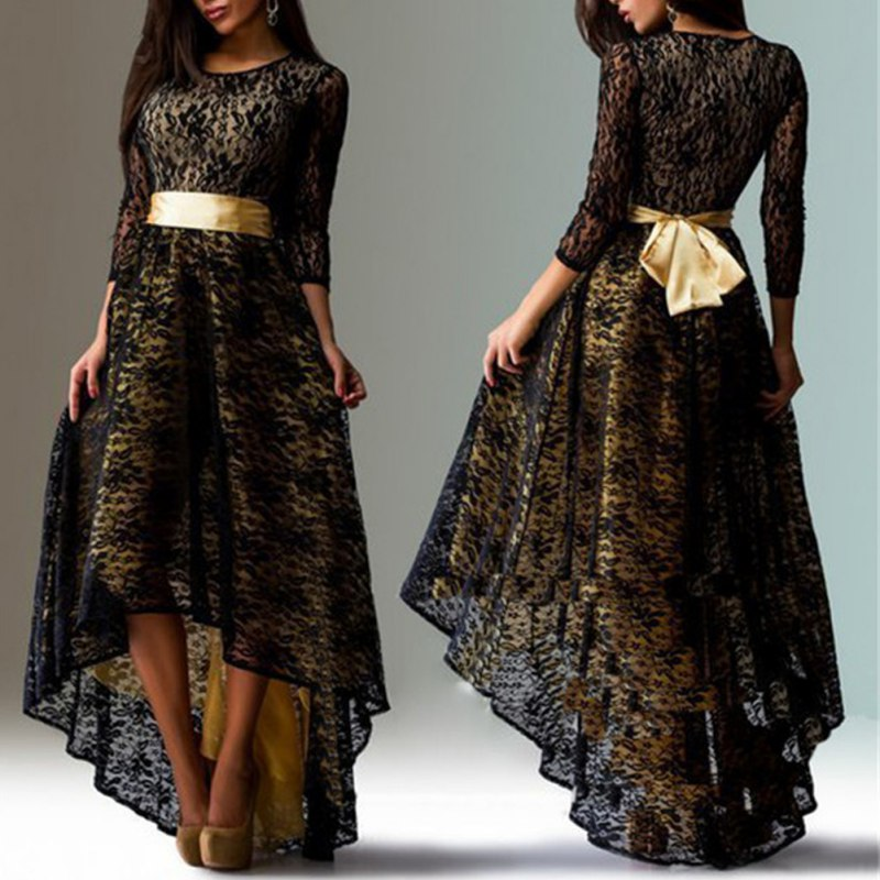 New Women Long Sleeve Lace Irregular Cocktail Evening Party Dress