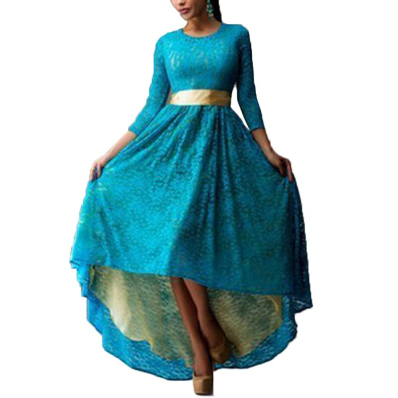 Plus Size Dress Women Lace Long Sleeve Cocktail Party Maxi Dress