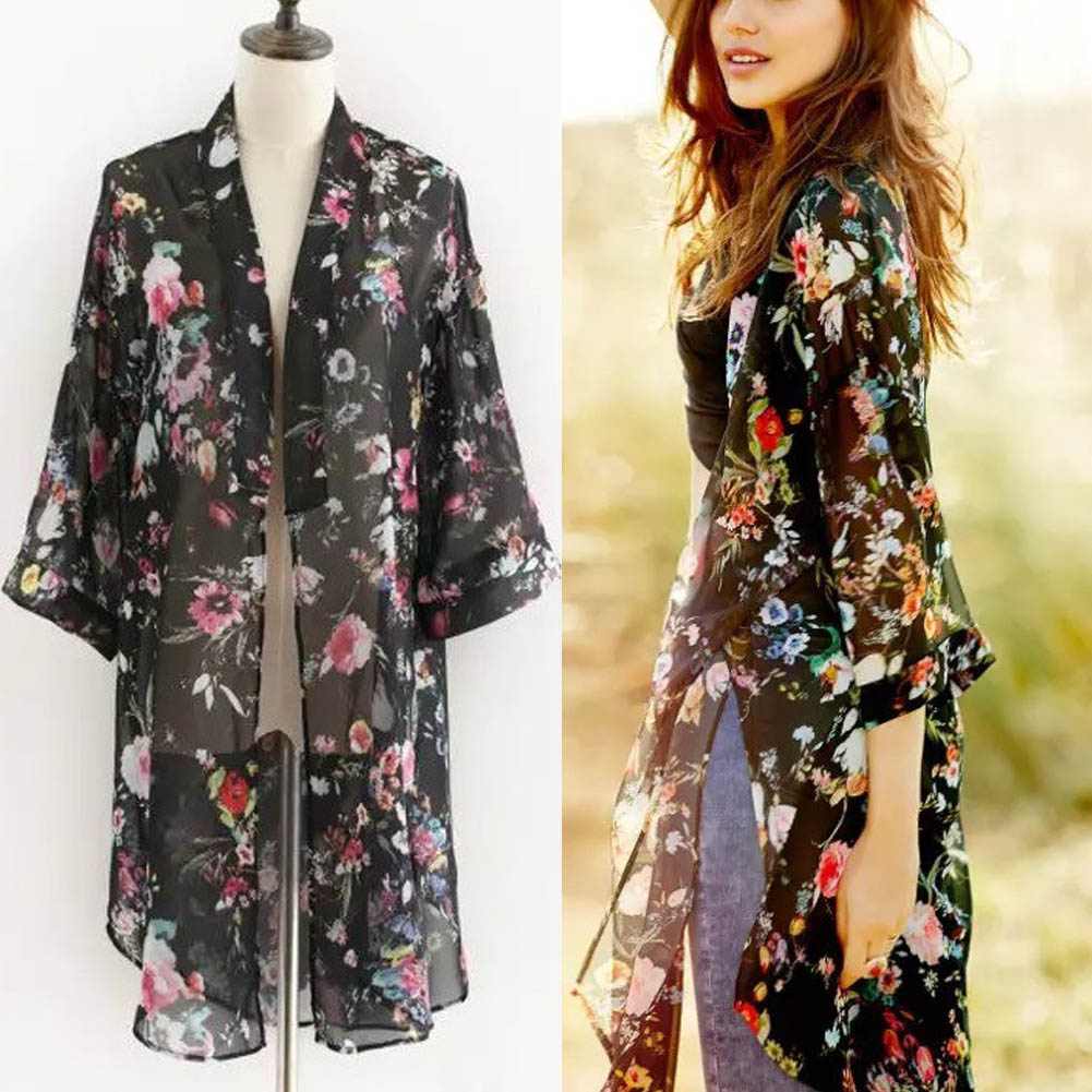 Chic Women's Half Sleeve Kimono Cardigan Top Casual Floral Long ...