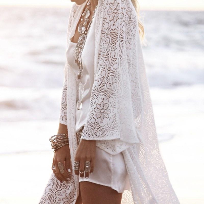 Summer Women Long Sleeve Lace Kimono Cardigan Bikini Cover Up ...