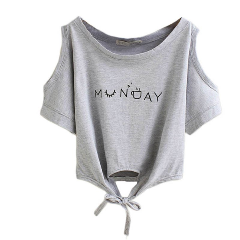 Us Women's Casual Letter Print Short Sleeve Tee T Shirt Summer Blouse Crop Tops by Unbranded