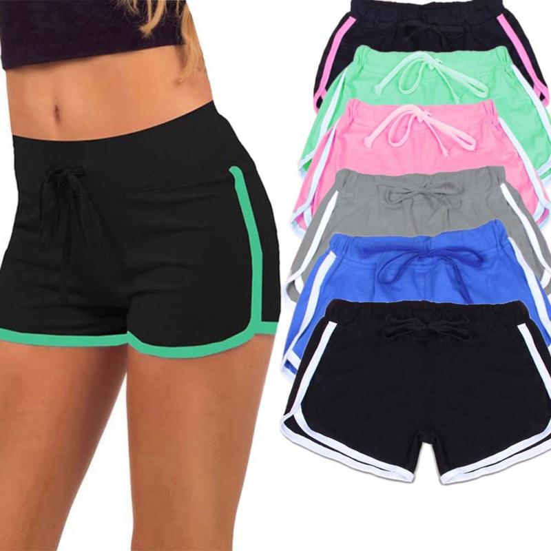 Women Yoga Running Sport Short Pants Elastic Waist Summer