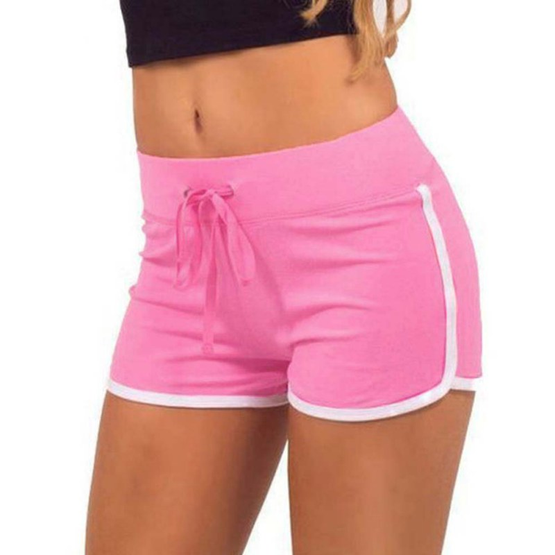 Women Yoga Running Sport Short Pants Elastic Waist Summer