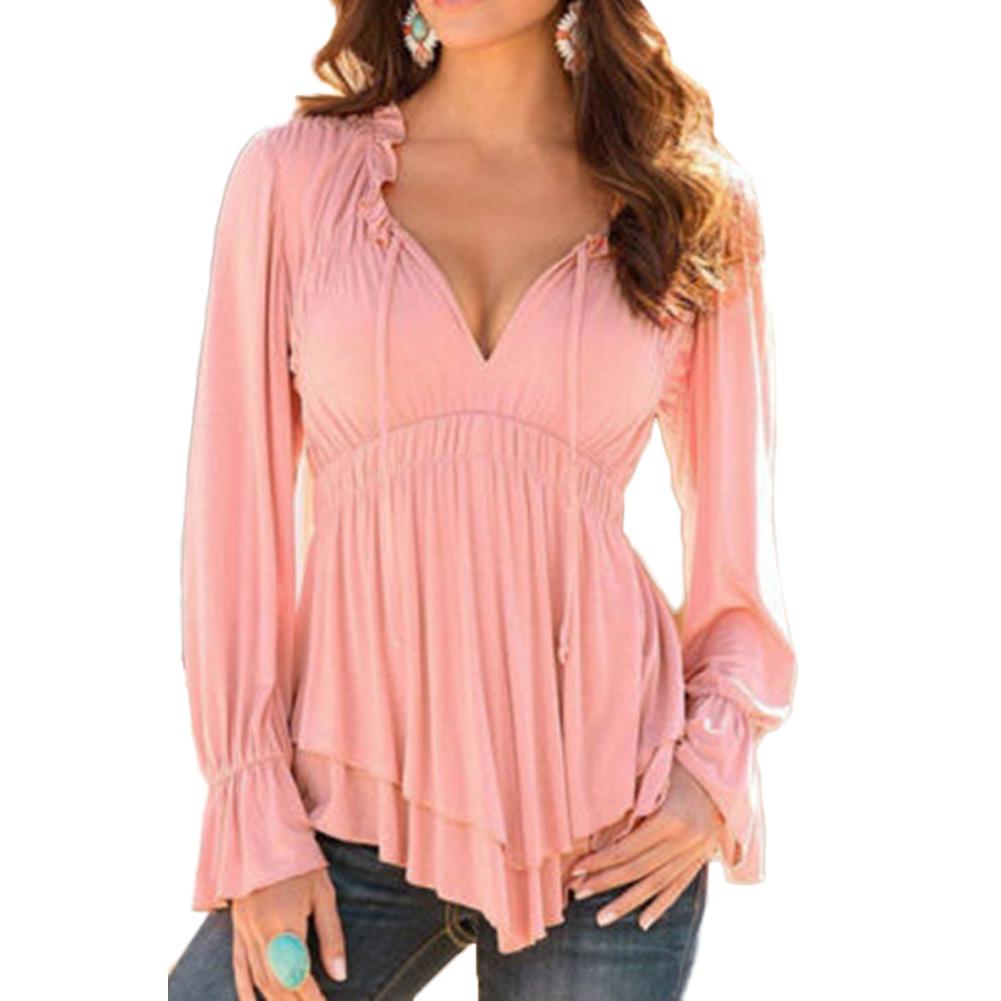 Elegant DEARCASE Women Stand-Up Collar Lotus Ruffle Shirts Blouse | EBay