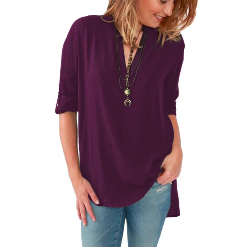 Women Casual Shirt OL Blouse Long Sleeve Autumn Loose Shirt Elegant T-shirt