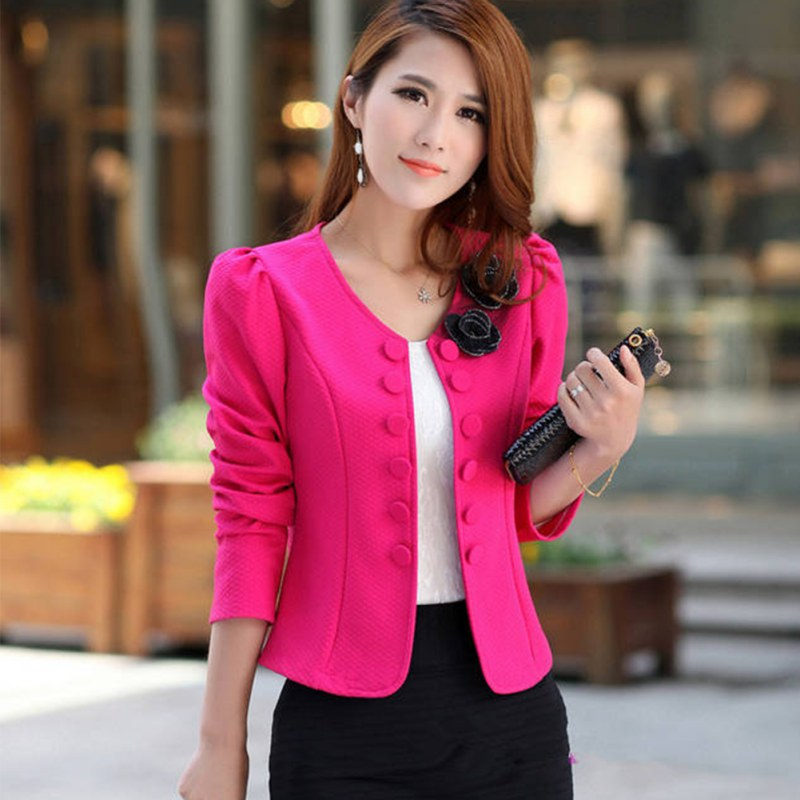 New Casual Slim Solid Suit Blazer Jacket Coat Outwear Women Fashion Candy Color