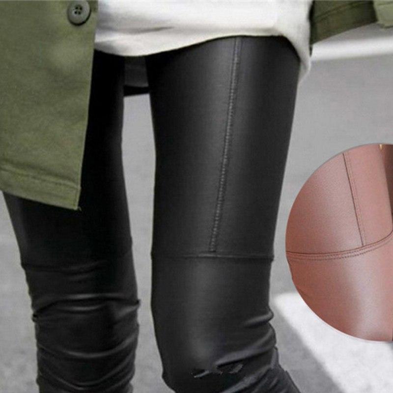 Womens Stretch Trousers Skinny High Waist PU Leather Leggings Pencil Pants Slim