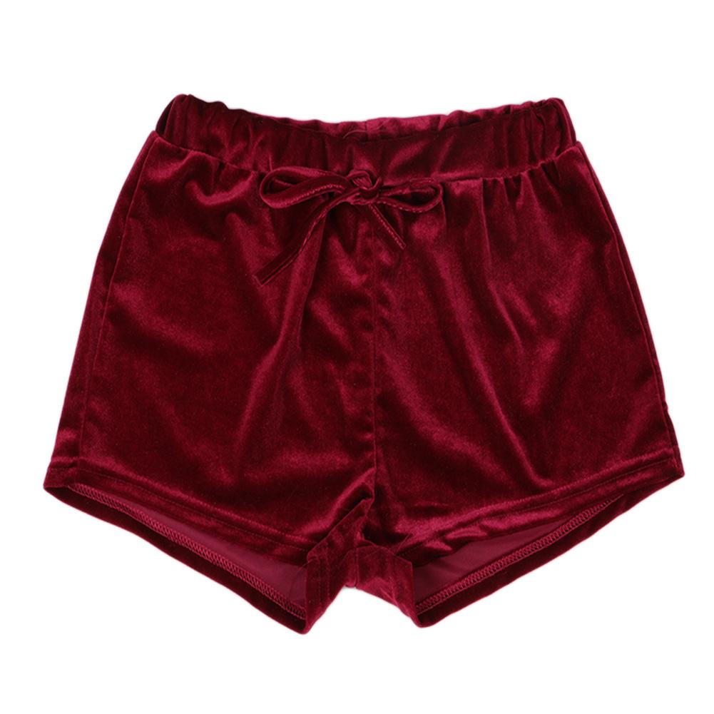 fashion women ladies crushed velvet runner casual shorts