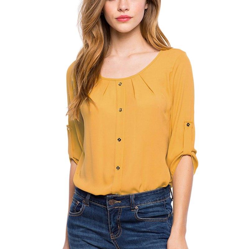 Fashion women lady chiffon long sleeve top button down for Best casual button down shirts