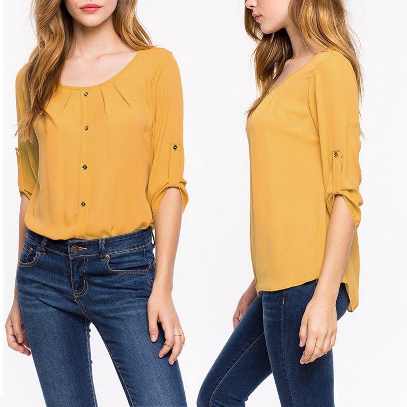 Fashion Women Lady Loose Long Sleeve Chiffon Casual Blouse Shirt Tops Blouse New