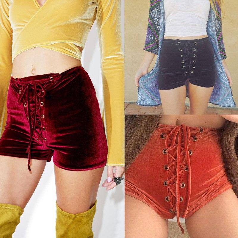 Velvet Shorts Women Lace Up Bandage Short Pants High Waist Pants ...