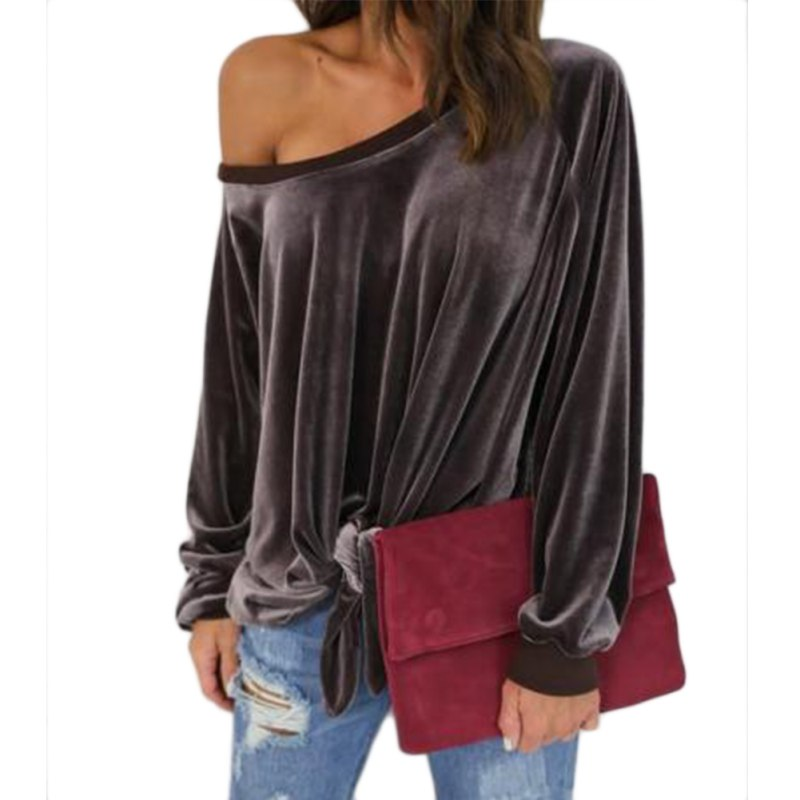 Fashion Women Sexy Off One Shoulder Casual Long Sleeve T
