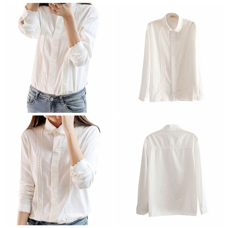 Women-039-s-V-Neck-Long-Sleeve-White-Shirt-Blouse-Lady-Casual-Cotton-Linen-Shirt-Top thumbnail 19