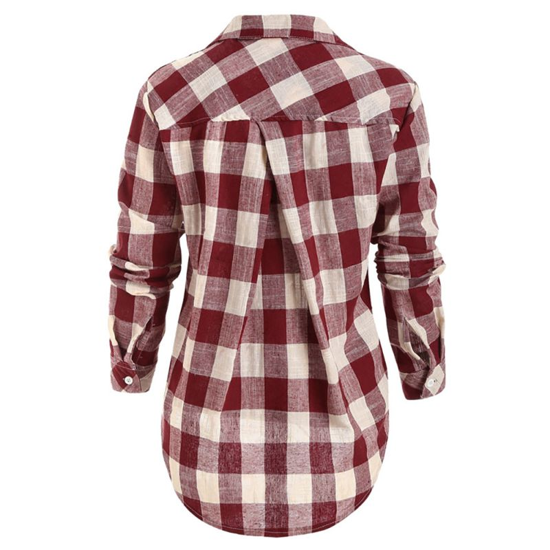 Women-Casual-Button-Down-Lapel-Shirt-Plaids-Checks-Loose-T-Shirts-Tops-Blouse-US