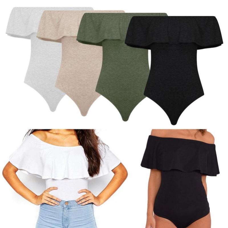Women Off Shoulder Sleeveless Frill Bodysuit Leotard Tops