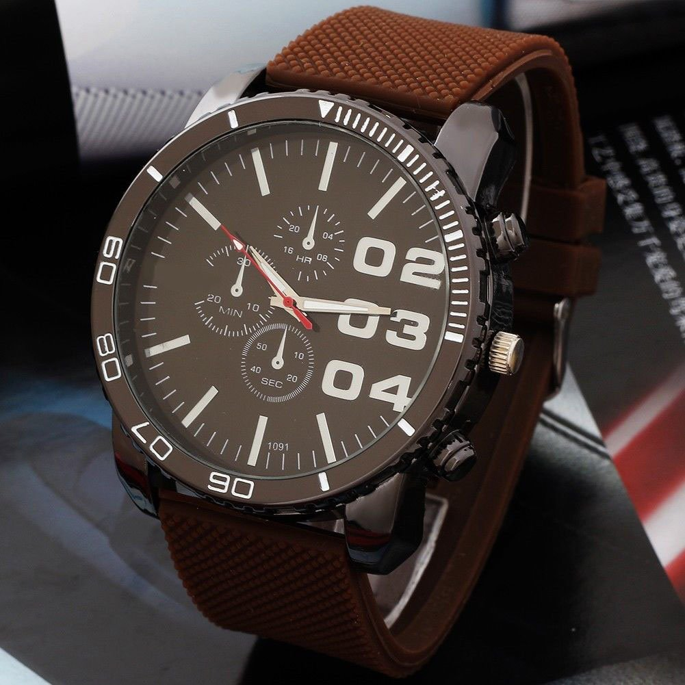 New 6Color Big Dial Analog Watch Casual Sports Wrist ...