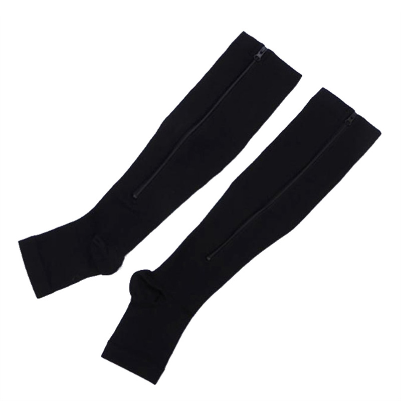 Medical-Open-Toe-Zipper-Compression-Socks-Leg-Cozy-Support-Knee-High-Stockings