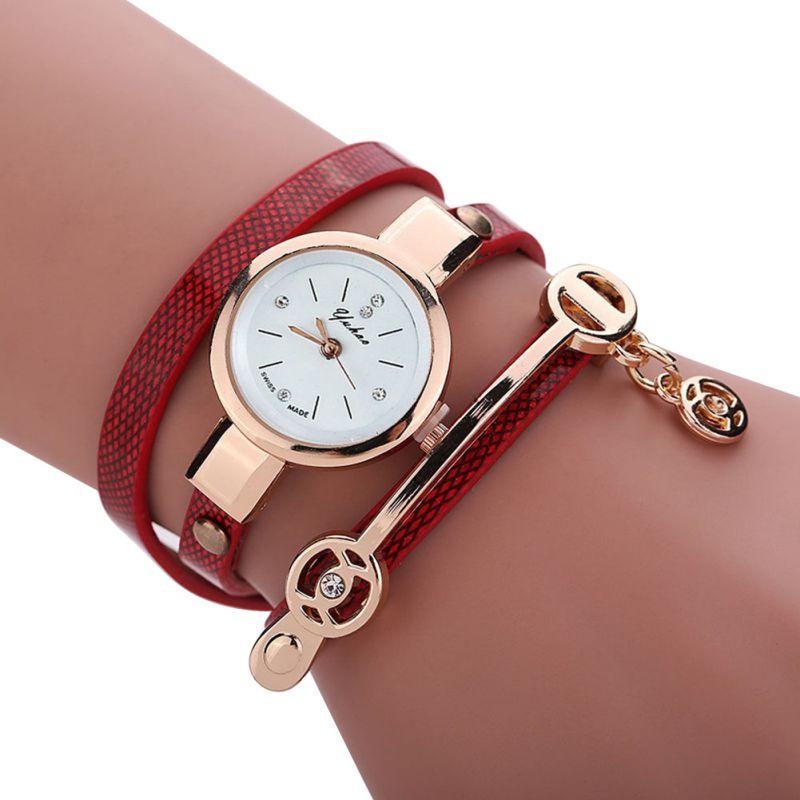 Women Faux Leather Rhinestone Metal Bracelet Quartz Wrist ...