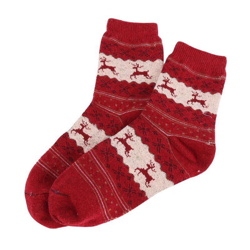 women men winter warm christmas socks snowflake deer wool unisex