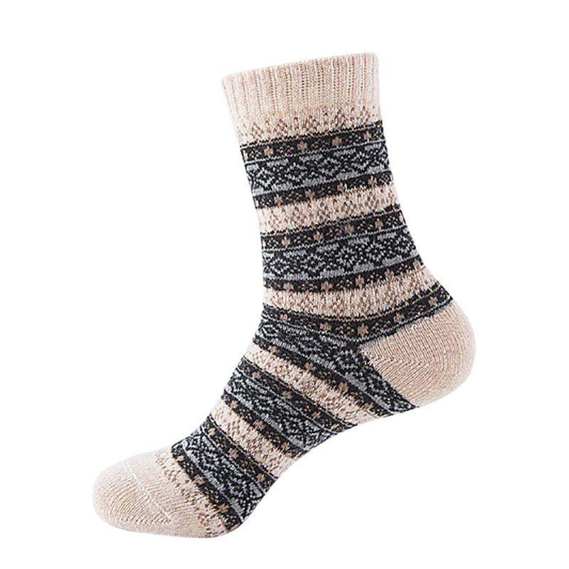 Knitting Pattern Thick Wool Socks : 1 Pairs Thermal Winter Warm Knit Wool Unisex Thick Crochet Cotton Socks Retro...