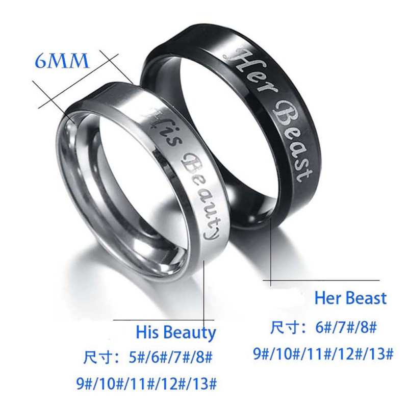 0cba4d7bae032 Details about US His Beauty & Her Beast Titanium Metal Wedding Couple  Engagement Ring Band