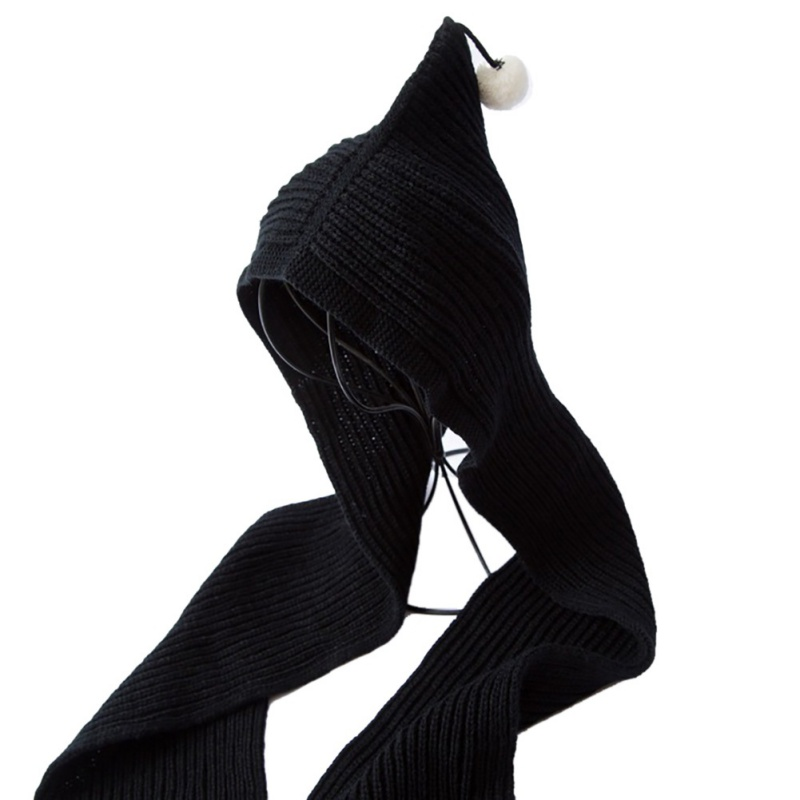 7-Colors-Womens-Kids-Matching-Knit-Long-Hooded-Hat-Scarf-Warm-Shawl-Headscarf