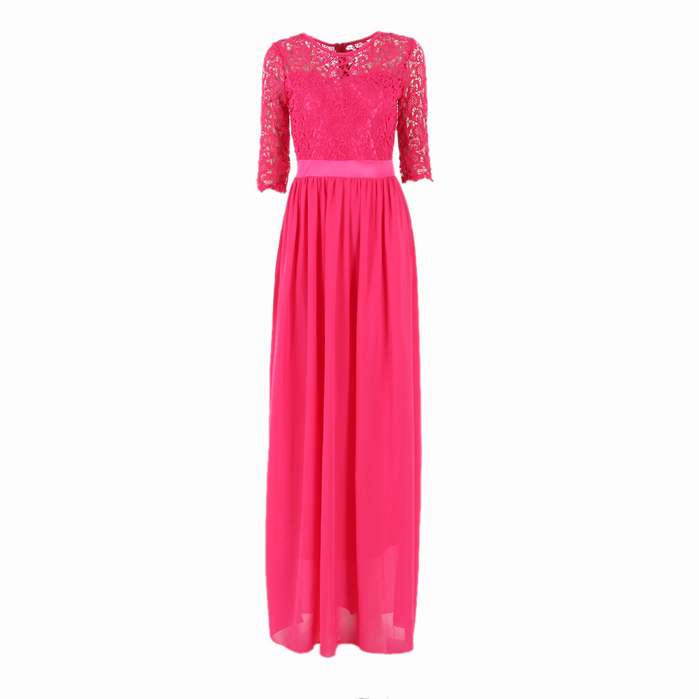 Women long chiffon lace dress party cocktail evening prom for Maxi dresses for wedding party