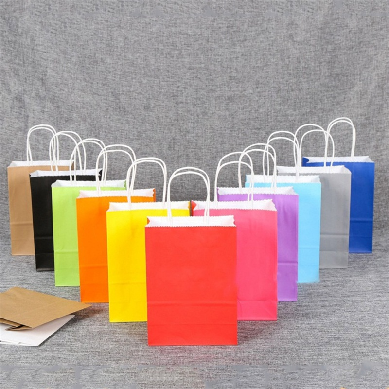 Recyclable party bags craft paper gift bag with handles for Handles for bags craft