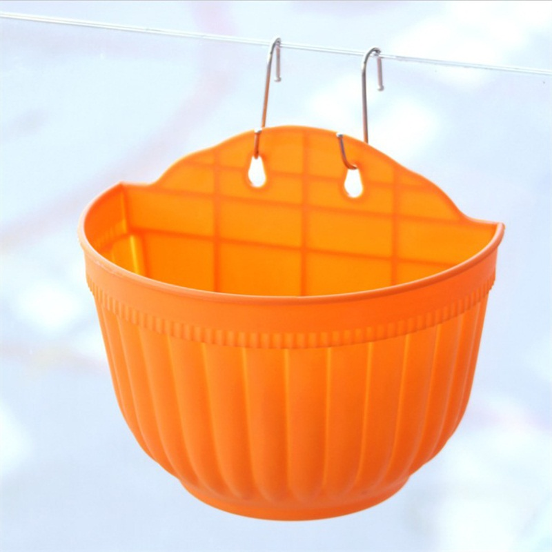Plastic wall hanging flower pot storage garden basket for Decorative hanging pots
