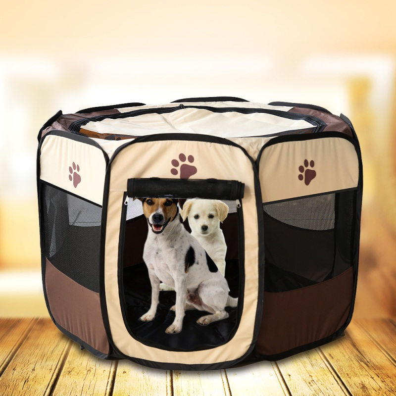 Portable Pet Dog Cat Playpen Tent Oxford Exercise Fence