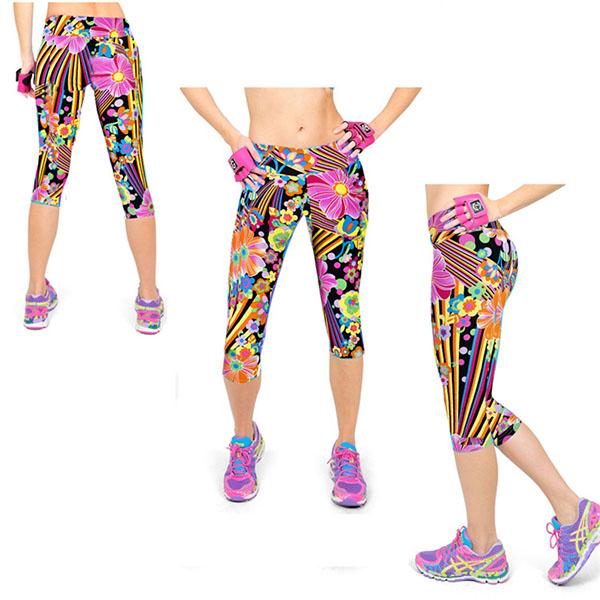 Fitness Leggings Cheap: Women's Capris Leggings High Waisted Floral Printed Yoga