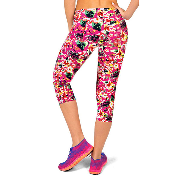12 Colors Floral Capris High Waist Slim Stretch Leggings Yoga ...