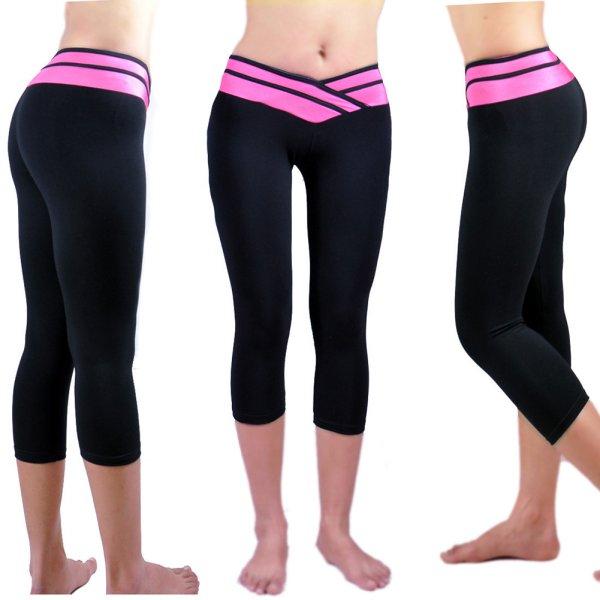 Women Cropped Yoga Fitness Leggings Running Gym Stretch