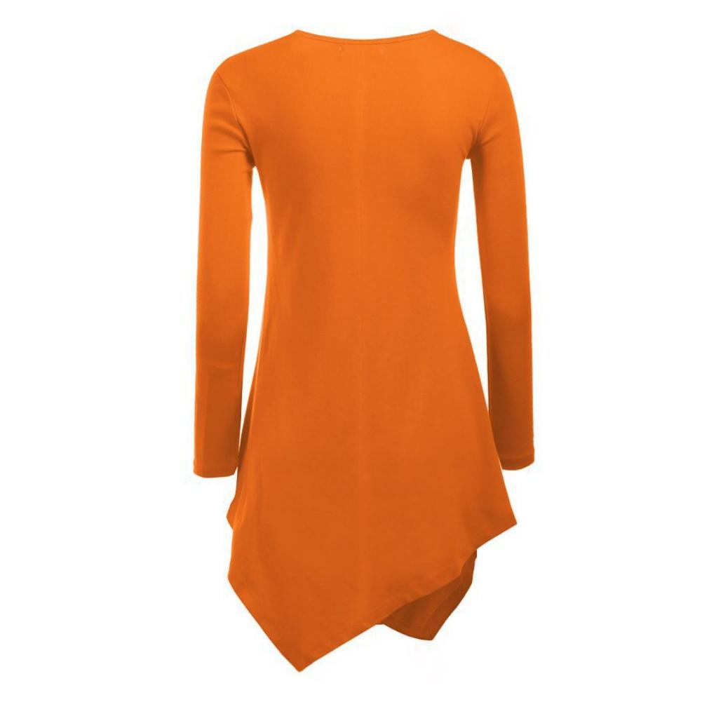 Women ladies irregular hem long sleeve cotton knitting for Long t shirts for ladies online