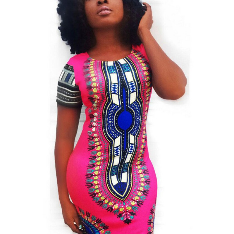 Fashion Women\'s Traditional African Print Dashiki Dress Party Tops ...