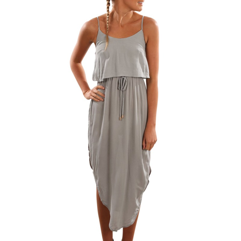 Women Lady Girl Summer Sleeveless Long Maxi Beach Party ...