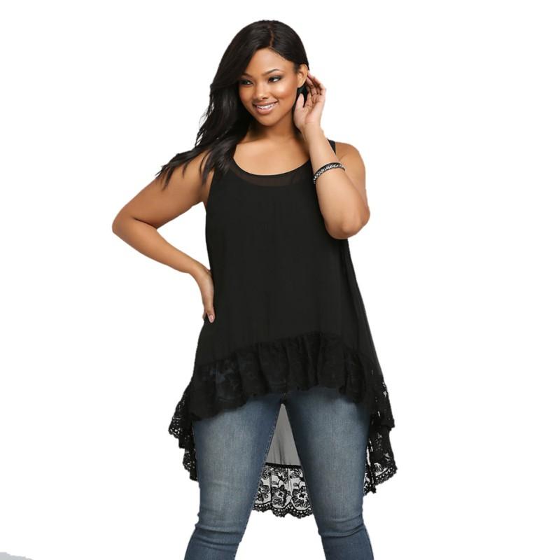 Plus Size Women Chiffon Blouse Casual Loose Cool Vest Tops ...