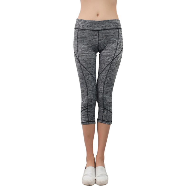 Women Sports Yoga Fitness Pants High Waist Cropped